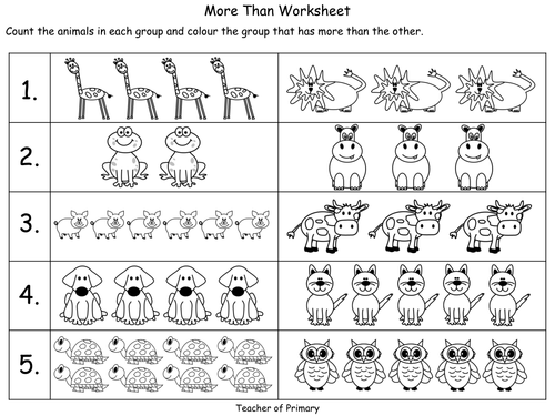 More Less and the Same PowerPoint presentation and worksheets – More and Less Worksheets