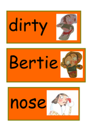 Dirty Bertie key word cards and pictures