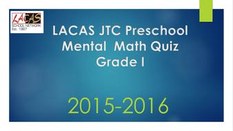Mental Math Quiz Grade 1
