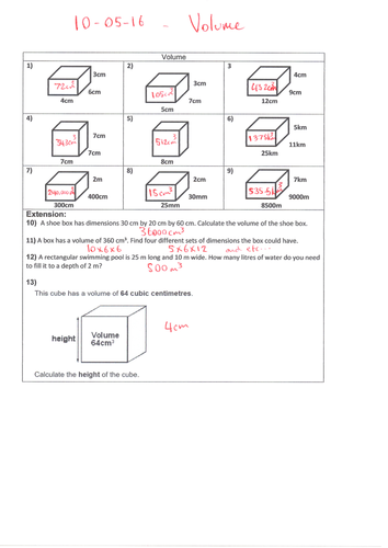 Ks2 Volume Of 3d Shapes Cube Cuboid Year 5 Or 6 By