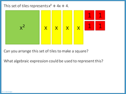 Completing the square using algebra tiles