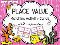 Place Value matching cards activity / game ( three digit numbers)