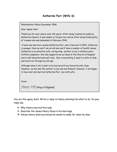 Henry VIII and his Six Wives ( an agony aunt\'s advice!) by COOK94 ...