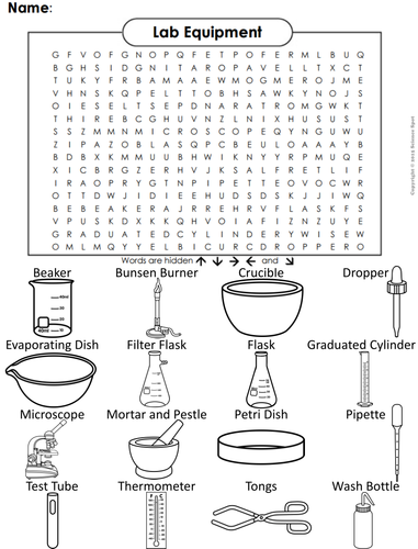 Lab Equipment Word Search By Sciencespot Teaching