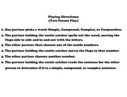 simple compound complex sentences cootie catchers