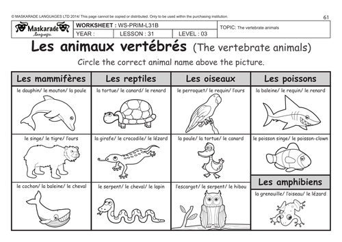 FRENCH UNIT 6 FRIENDS ACTIVITIES Year 56 The vertebrate – Vertebrate Worksheet