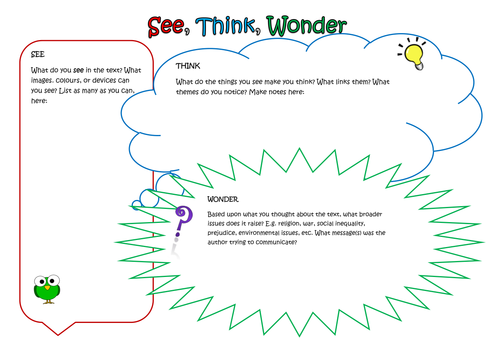 Worksheets For Wonder : See think wonder a worksheet to stimulate deep thinking
