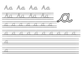 Pre-cursive handwriting sheets