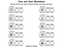 Tens and Ones - Year 2 - PowerPoint presentation and worksheets