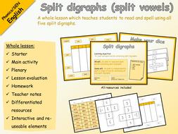English - Phonics - Split digraphs / split vowels WHOLE LESSON