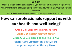GCSE Health and Social Care 1 4 Whole Lessons
