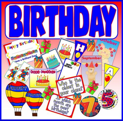 HAPPY BIRTHDAY TEACHING RESOURCES EYF KS1-2 DISPLAY MONTHS