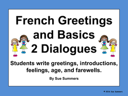 French greetings and basics 2 writing dialogues by suesummersshop french greetings and basics 2 writing dialogues m4hsunfo