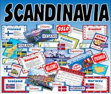 SCANDINAVIA -  RESOURCES KS2-3 GEOGRAPHY MAP DENMARK ICELAND NORWAY FINLAND SWEDEN SWEDISH LANGUAGE