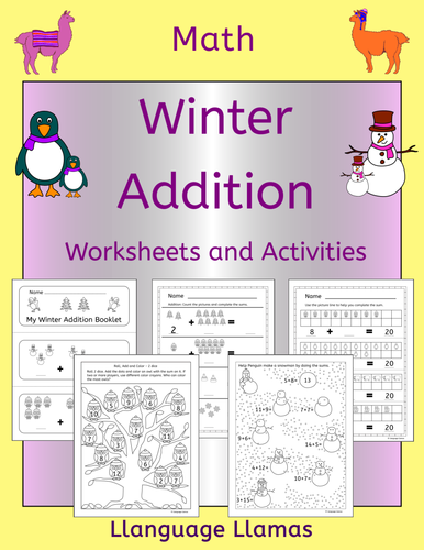 winter addition worksheets and activities by llanguagellamas teaching resources tes. Black Bedroom Furniture Sets. Home Design Ideas