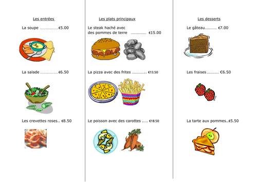 french food la nourriture worksheet 4 au restaurant by amberslmp teaching resources tes. Black Bedroom Furniture Sets. Home Design Ideas