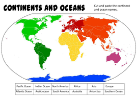 Continents and oceans geography ks1 2 world maps earth by cut and stick taskpdf gumiabroncs Images