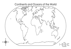 CONTINENTS AND OCEANS GEOGRAPHY KS12 WORLD MAPS EARTH by