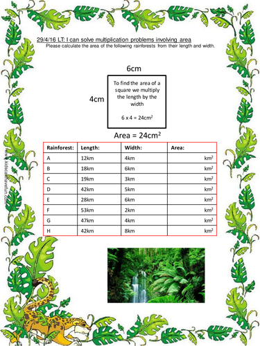 area of the rainforest multiplication worksheets by matthewewilmot teaching resources tes. Black Bedroom Furniture Sets. Home Design Ideas