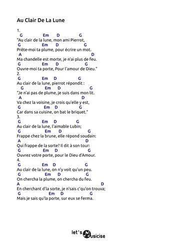 Au Clair De La Lune (G) tabs 4 recorder ocarina guitar ukulele ...