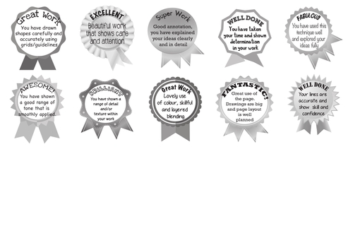 Art and Design strengths and improvement marking stickers