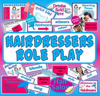HAIRDRESSERS ROLE PLAY TEACHING RESOURCES SCIENCE EYFS KEY STAGE 1-2 CULTURE