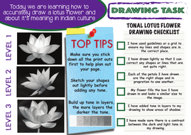 The Art Of India Lotus Flower Drawing Lesson With Literacy Task By
