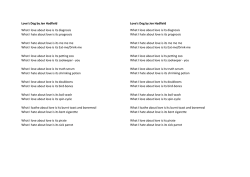 Love S Dog Analysis Free Poem Analysis