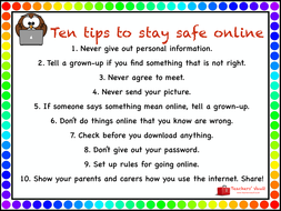 10 tips to stay safe online by helenrachelcrossley teaching
