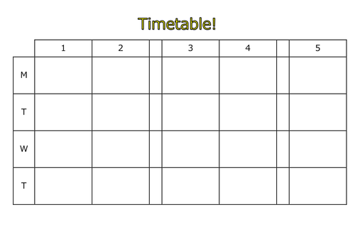 Blank Timetable Template can be edited electronically 5 period – Timetable Template School