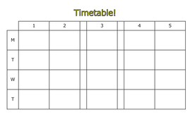 Blank timetable template can be edited electronically for Blank revision timetable template