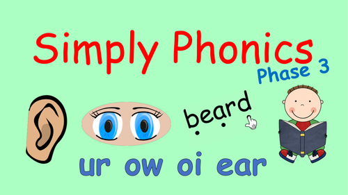 Phase 3 Phonics - Powerpoint with ur, ow, oi and ear and Tricky Words Revision and Blending
