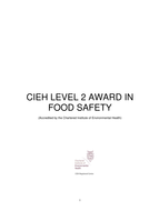 Food Safety Level 2 workbook with multiple choice quiz