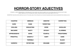 horror descriptive words
