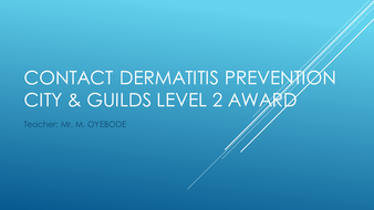 Contact Dermatitis Prevention - City & Guilds Level 2 Award
