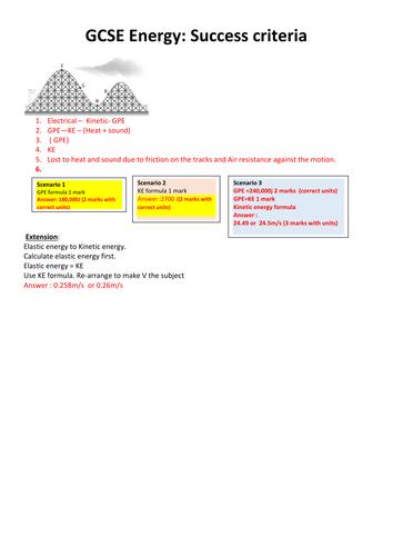 New GCSE Physics Energy : Graded task