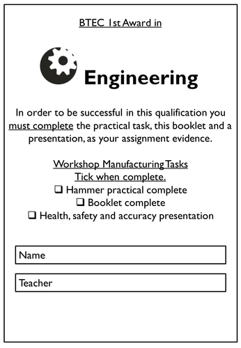 Level 2 BTEC Engineering - Unit 7: Assignment 2: Parameters, techniques, safe working practices etc.