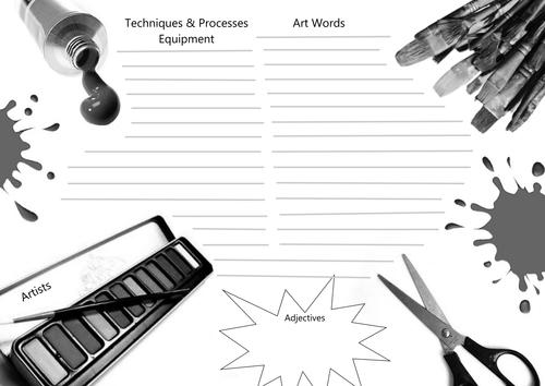 Art & Design Glossary Worksheet (Literacy)