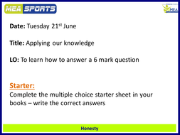 AQA GCSE PE Exam technique  - answering extended/ 6 mark questions