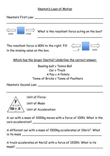 Newton 39 S Laws Of Motion Information Sheets Revision By