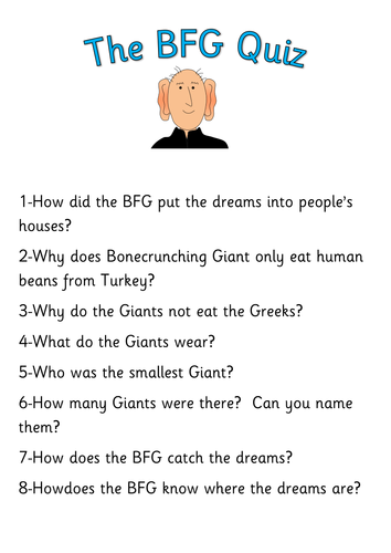 Printables Bfg Worksheets the bfg teaching pack worksheets activities display materials quiz roald dahl by robbyn resources tes