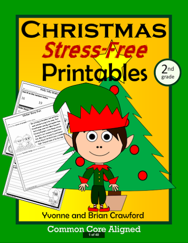 christmas no prep printables second grade common core math and literacy by yvonnecrawford. Black Bedroom Furniture Sets. Home Design Ideas
