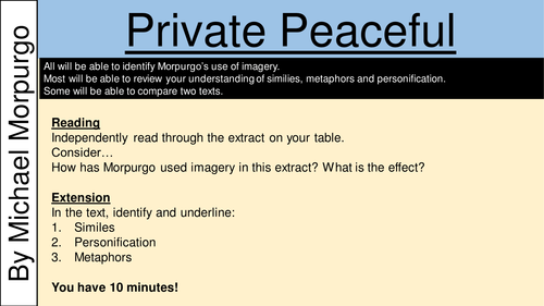 excellent ideas for creating private peaceful essay private peaceful novel study sample scheme of work lots of projects to suggest to students based upon a 6 week novel study question booklet