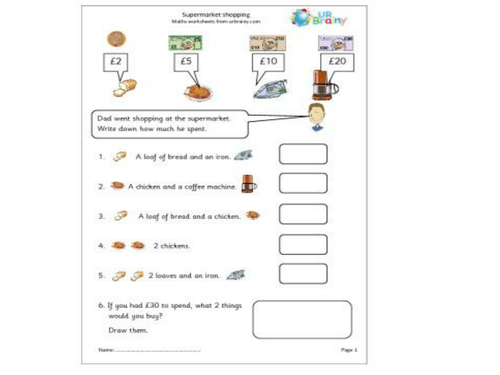 money worksheets year1 by lucylouisecunningham teaching resources tes. Black Bedroom Furniture Sets. Home Design Ideas
