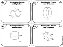 Surface Area of Cylinders and Rectangular Prisms Task