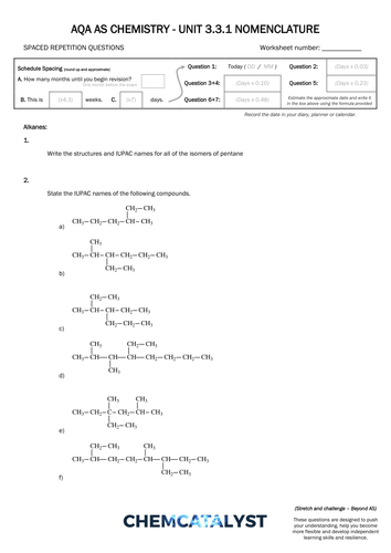 aqa as chemistry srq worksheet nomenclature by uk teaching resources tes. Black Bedroom Furniture Sets. Home Design Ideas