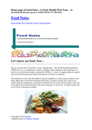 "Food Notes -A Brief & Beneficial ""Food-Health"" Web Tour (FULL Version)"