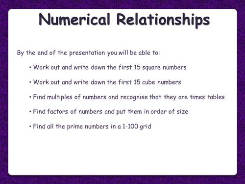 Number Relationships - Multiples, Factors, Primes, Squares, Cubes - Functional Skills L1 L2 GCSE