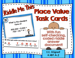 Riddle Me This - Place Value Review Task Cards (4 NBT A 2)