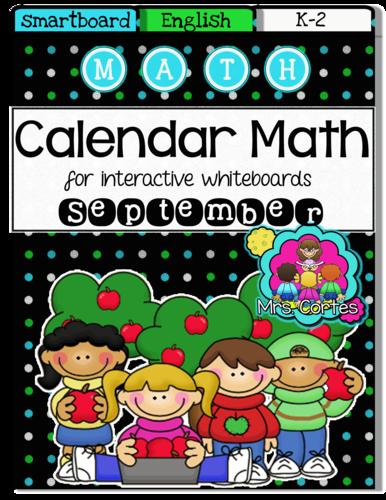 Smartboard Kindergarten Calendar : Smartboard calendar math september english by us